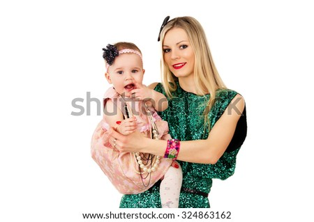 modern mom with baby - stock photo