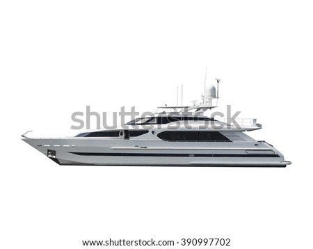 modern motor long big black and white yacht isolated on white background. - stock photo