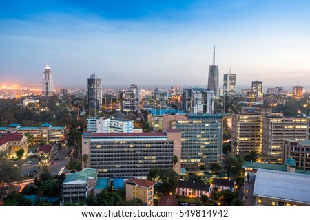 Modern Nairobi cityscape - capital city of Kenya, East Africa