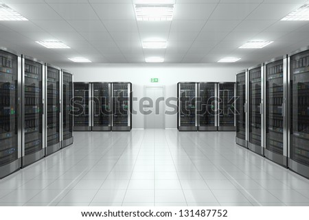 Modern network and communication concept: server room in datacenter - stock photo
