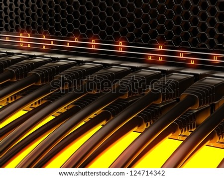 Modern network switch with cables. - stock photo