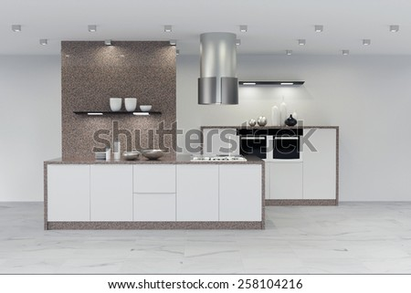 Modern new clean marble kitchen in white (3D Rendering) - stock photo