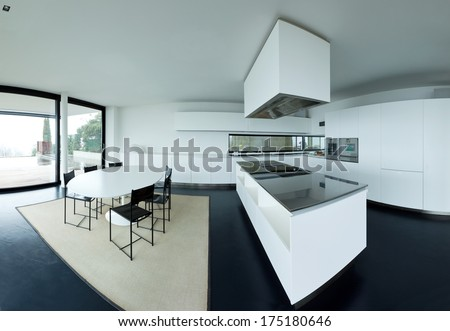 Modern new kitchen, interior, nobody inside.