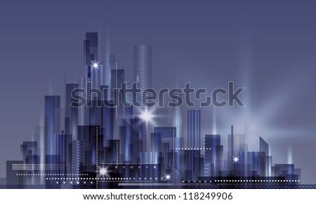 Modern Night Cityscape Background. Raster version
