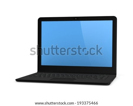 Modern notebook isolated on white background.