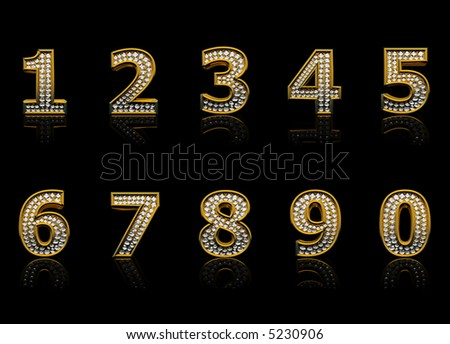 Modern numerals isolated on black background