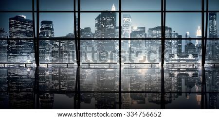 Modern NYC Interior Architecture Night Scene Concept - stock photo