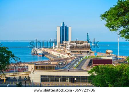 Modern Odessa sea terminal at sunset. Ukraine - stock photo