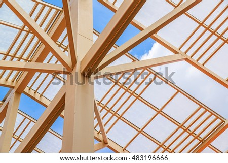 Modern of metal roof structure of modern building