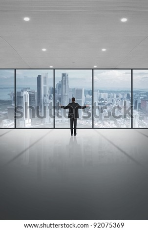 Modern office and skyscrapers - stock photo