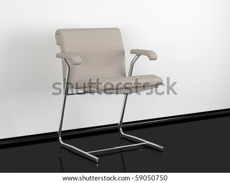 Modern office armchair in black and white room, 3d render/illustration - stock photo