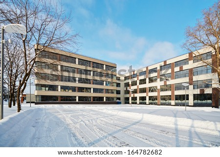 Modern office building on bright winter day - stock photo