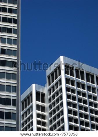 Modern office buildings in downtown Oakland, California, with copyspace in upper right corner - stock photo