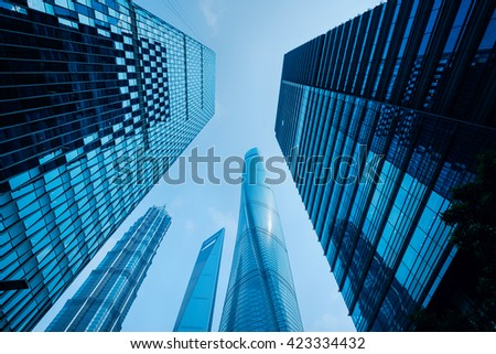 Modern office buildings in Lujiazui district, Shanghai.  - stock photo