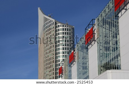 Modern office buildings in The Hague