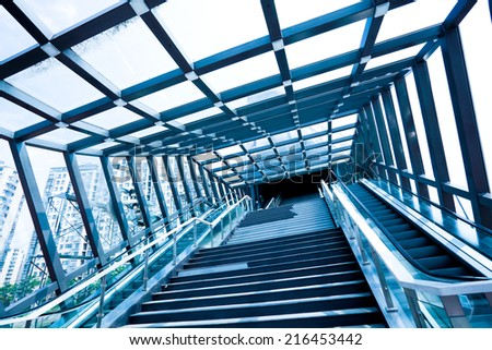 Modern office buildings marble steps and stainless steel stair rails  - stock photo