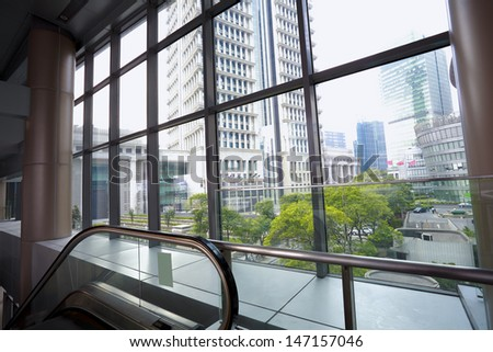 Modern office buildings stairway glass with windows - stock photo