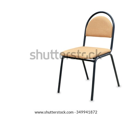 Modern office chair from beige cloth over white - stock photo