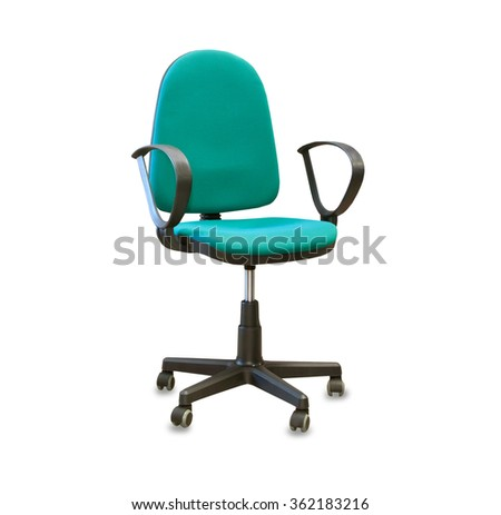 Modern office chair from green cloth isolated over white - stock photo