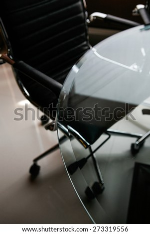 Modern office chairs detail, shallow DOF. - stock photo