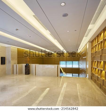 Modern office, corridor with top grade decoration - stock photo