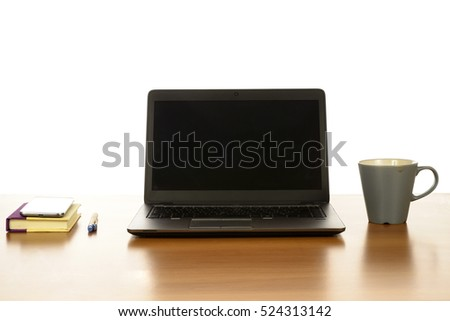 Modern Office desk with laptop, coffee, smartphone and agenda, on white background