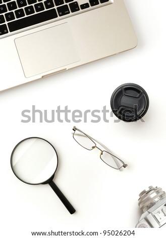 modern office desktop - stock photo