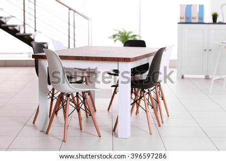 Modern office. Furniture set with table and chairs