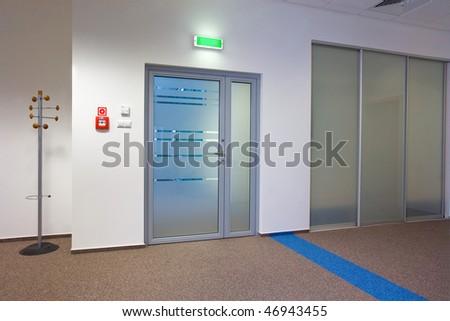 Modern office interior - corridor - stock photo