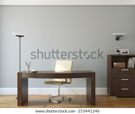 Modern office interior.3d render. - stock photo
