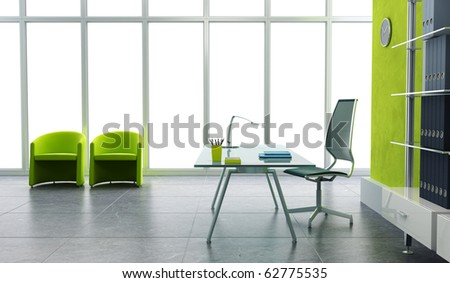 modern office interior 3d render - stock photo
