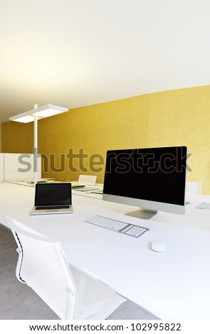 modern office interior design, workplace with computers - stock photo