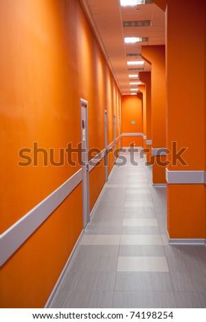 Modern office interior - perspective of a corridor - stock photo