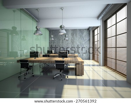 Modern office interior with glass and concrete 3D rendering - stock photo