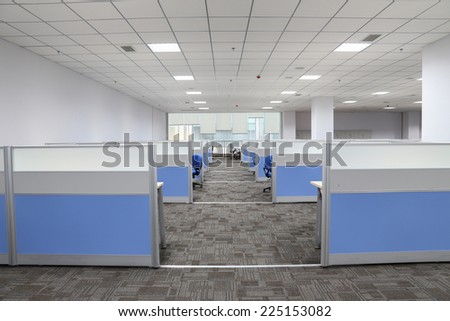 modern office interior with table and desk - stock photo