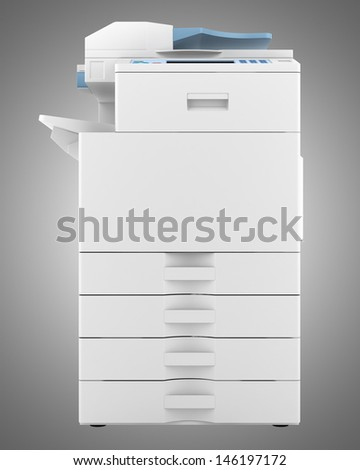 modern office multifunction printer isolated on gray background - stock photo