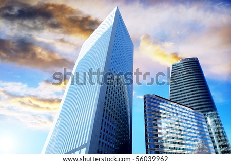 Modern office  Skyscrapers on the sunny beautiful sky - stock photo