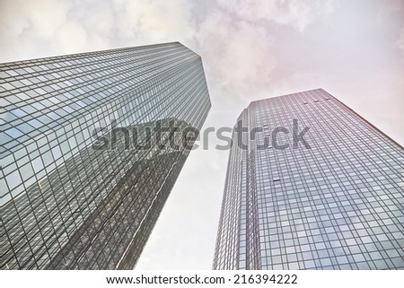 modern office towers in Frankfurt am Main, Germany - stock photo