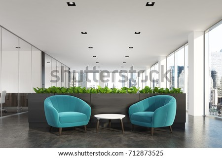 Modern Office Waiting Area Blue Armchairs Stock