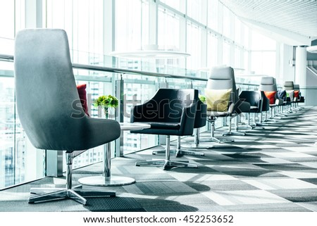 Modern office with Furniture set table and chairs. Interior of a company modern office.