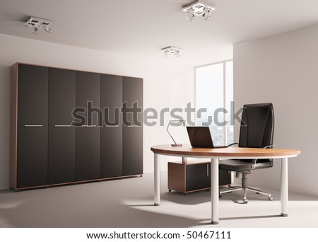 Modern office with wooden table interior 3d render - stock photo