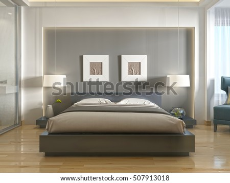 Modern One Double Bed Front View Stock Illustration