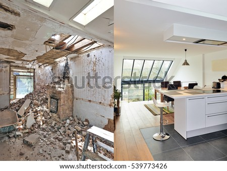 Modern open kitchen in renovated house with view on a lush garden, before and after