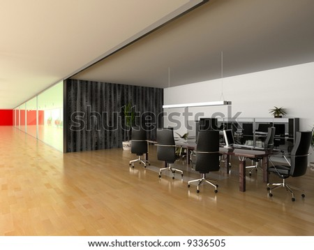 modern open office interior(3D rendering)