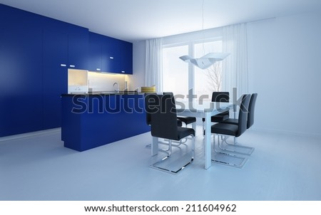 Modern open-plan kitchenette diner with blue cabinets and a bar counter with a small contemporary dining suite in a cool spacious room - stock photo
