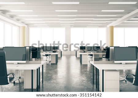 Modern open space loft office with furniture, concrete floor, big windows and pillars 3D Render - stock photo