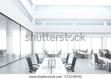 Modern open space office with work places and big windows 3D Render - stock photo