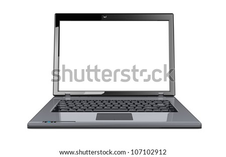 Modern opening laptop isolated on a white background - stock photo