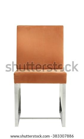 modern orange chair isolated on white - stock photo