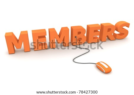 modern orange computer mouse connected to the orange word Members